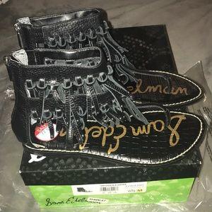 Sam Edelman griffen black leather sandals